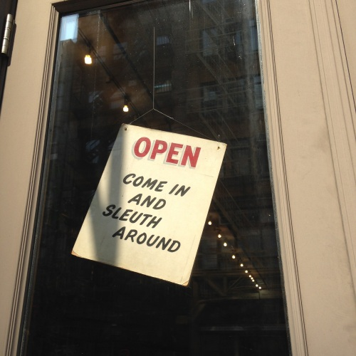 mysterious bookshop sign nyc