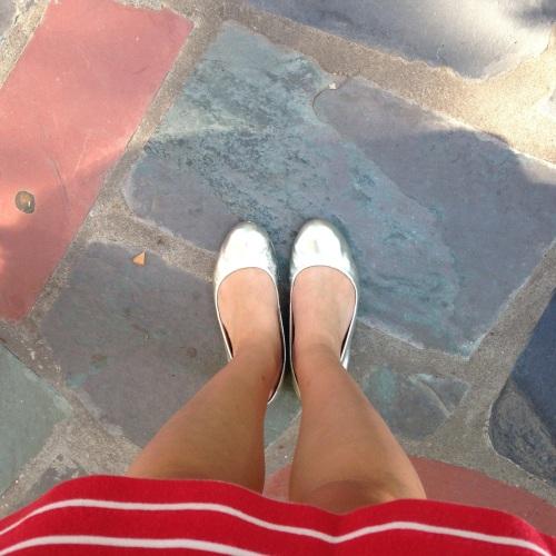 silver flats striped skirt