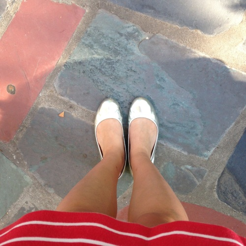 silver flats striped skirt