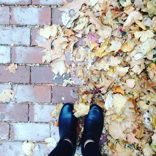 leaves boots bricks