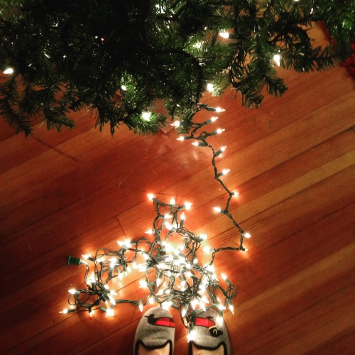christmas lights tree dog slippers