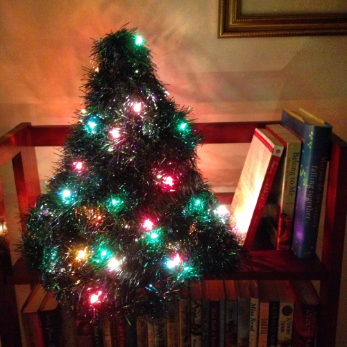 tiny christmas tree bookshelf