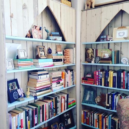 julies bookshelves book stack