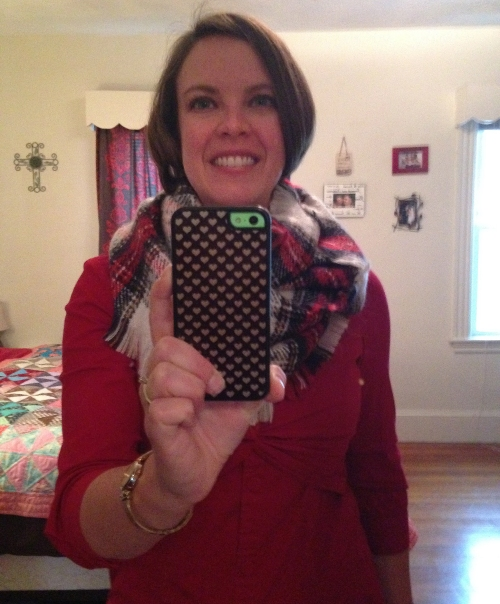 katie selfie red dress plaid scarf