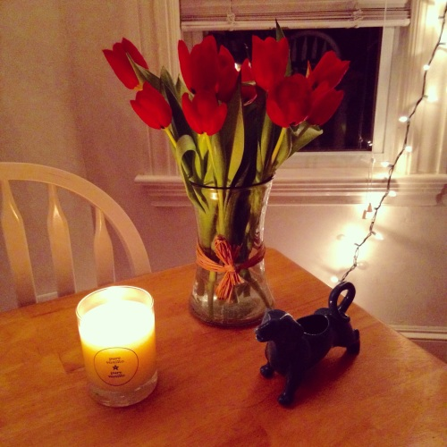 tulips candle dog table