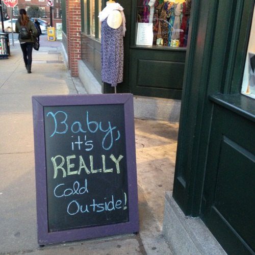 baby its cold outside sign dress shop