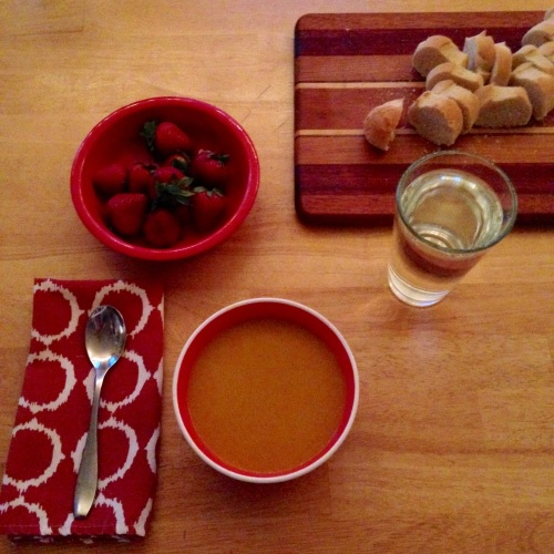 carrot ginger soup bowl strawberries table