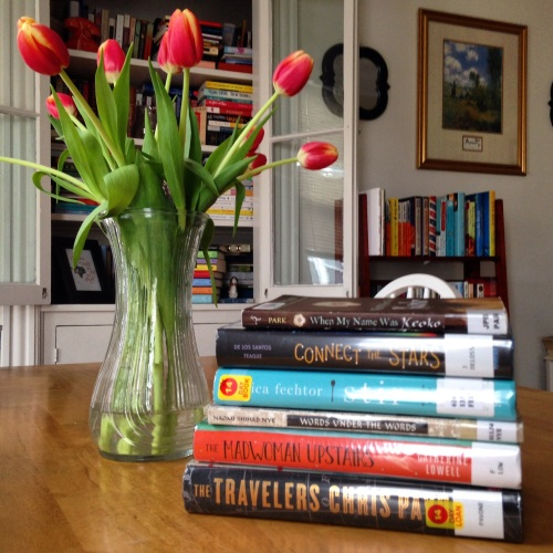 library book stack tulips