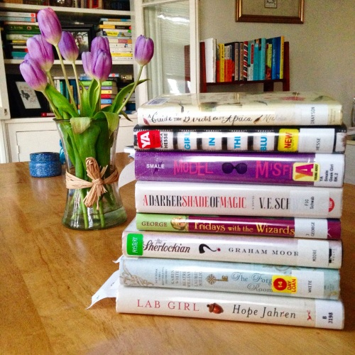 book stack purple tulips