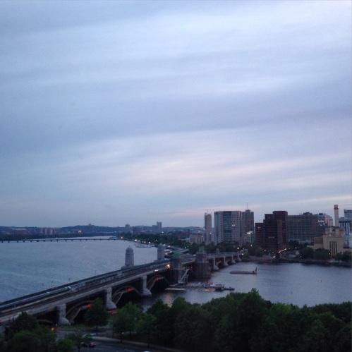 charles river sunset view boston fog