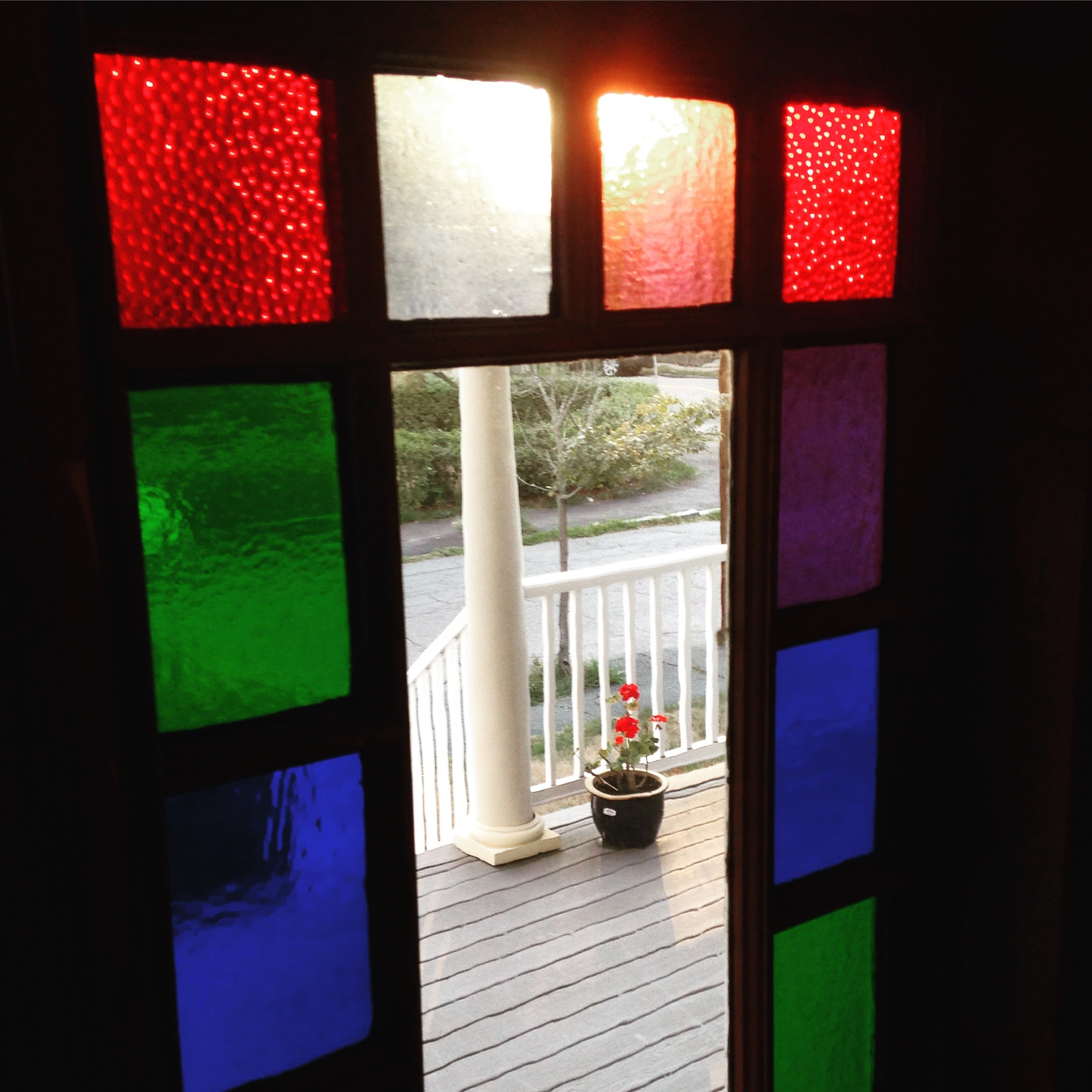 geraniums stained glass