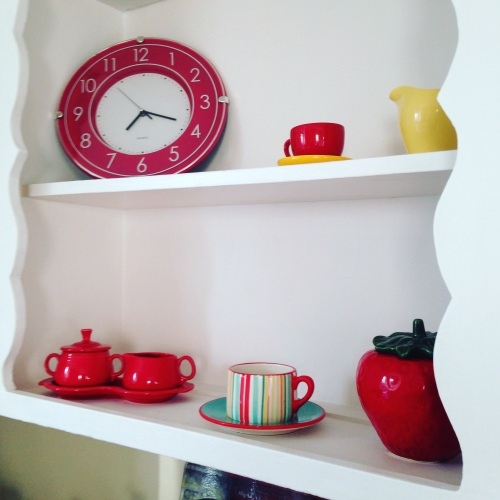 kitchen shelves red