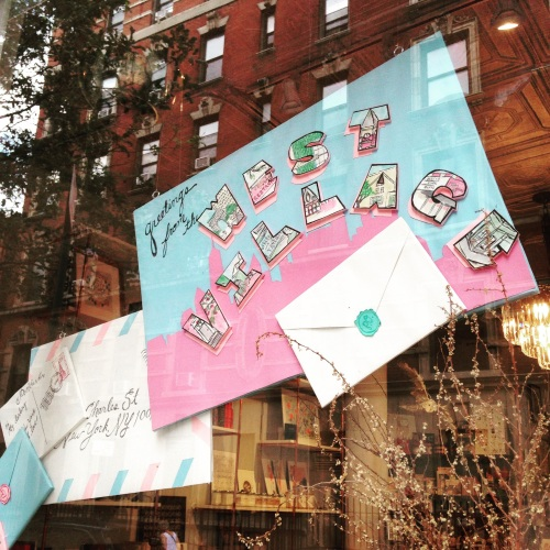 west village window nyc pink olive