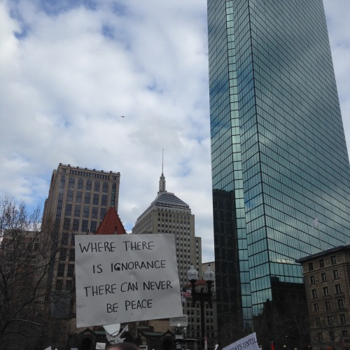 hancock tower protest boston refugees