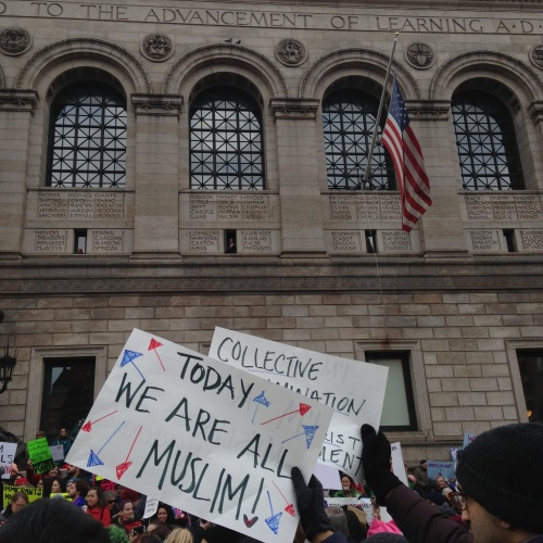 muslim sign protest boston public library
