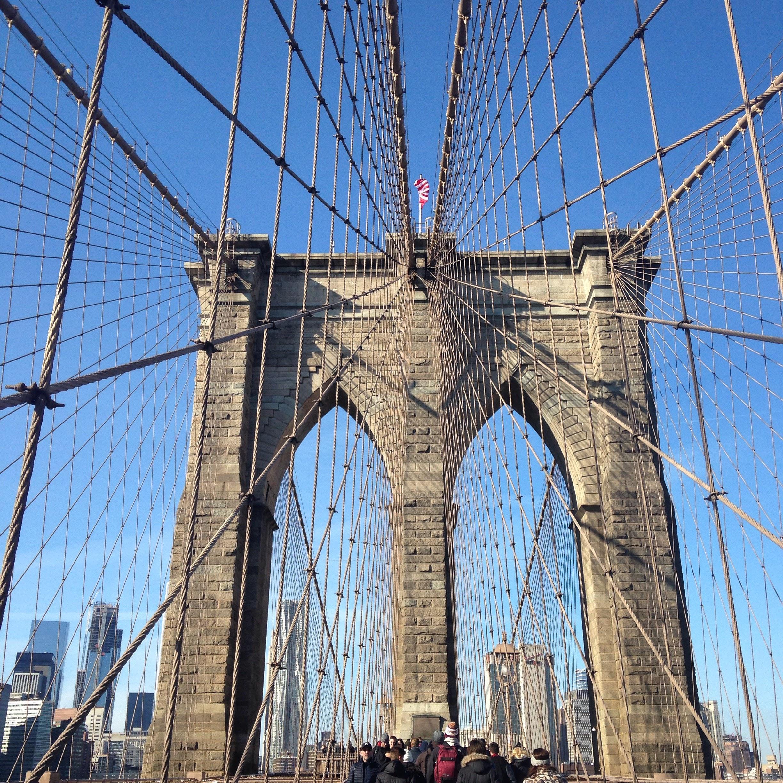 brooklyn bridge cables sky