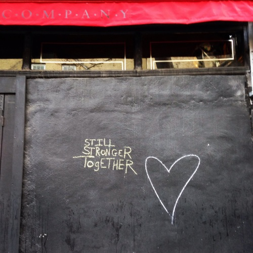 stronger together heart graffiti three lives