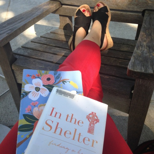 in the shelter book red pants black wedges