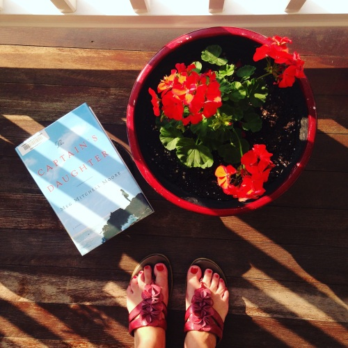 book geraniums captains daughter sandals porch flowers