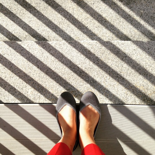 flats red pants front steps