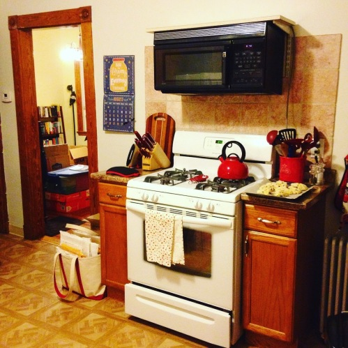 kitchen red kettle stove