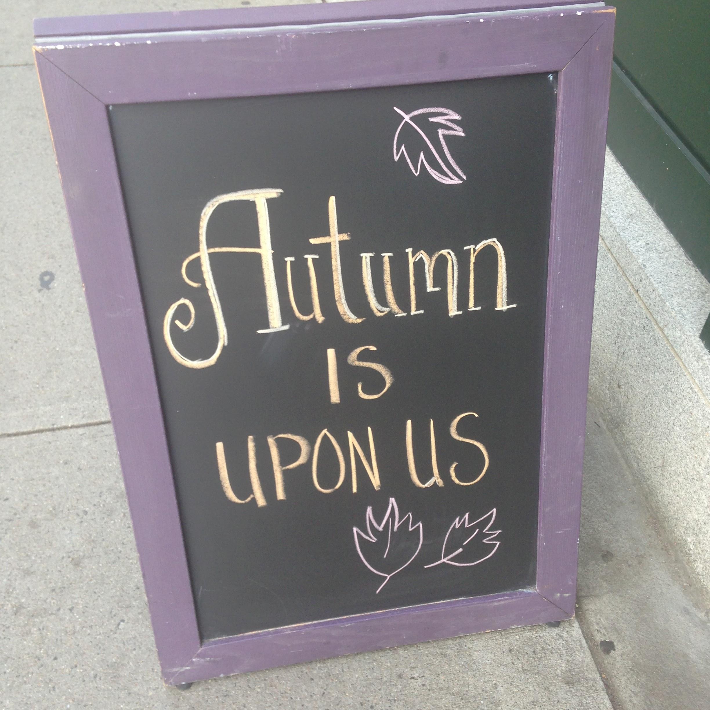 autumn sign leaves chalkboard