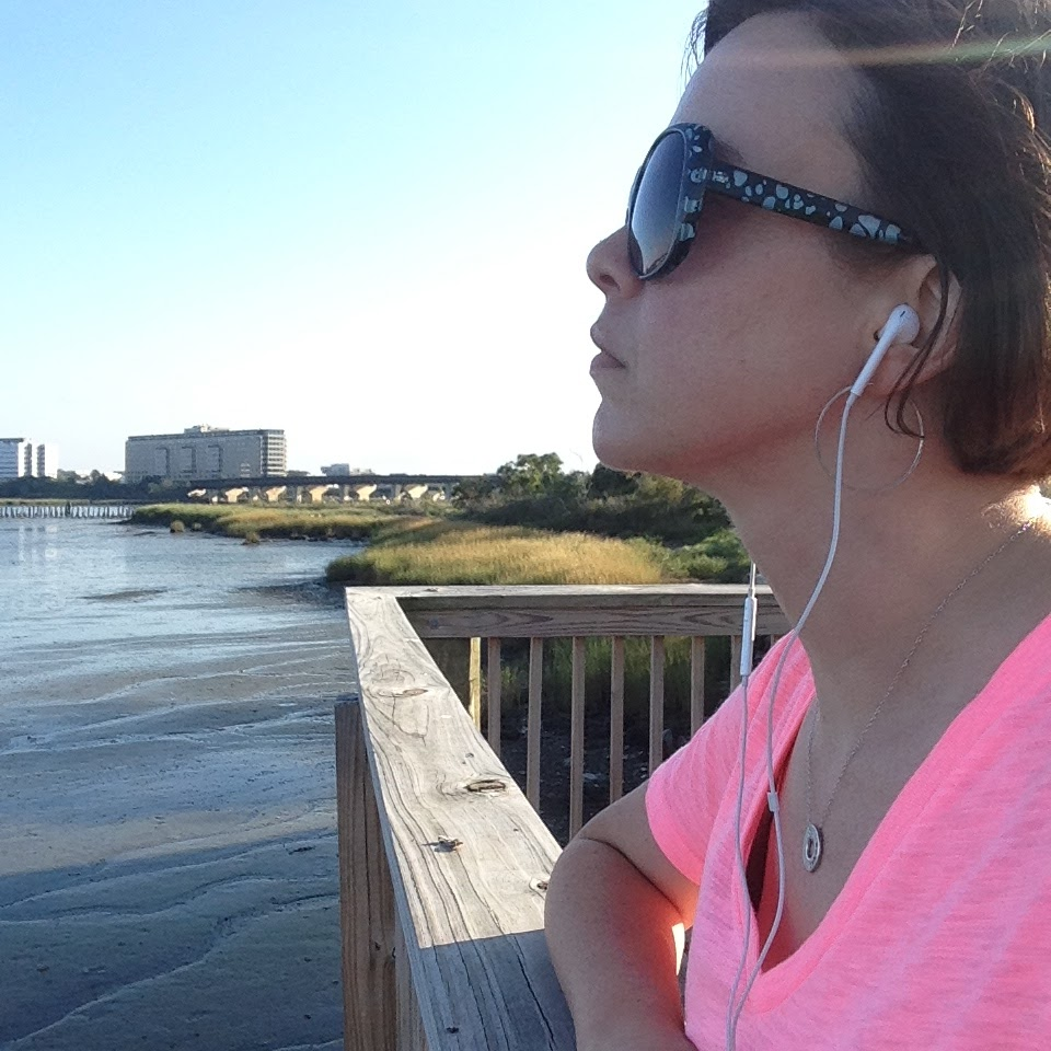 katie river trail blue sky earbuds