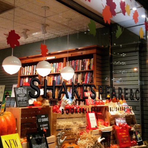 shakespeare co nyc autumn window bookstore