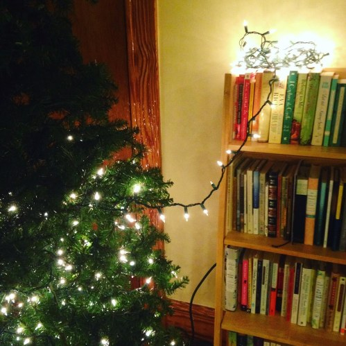 tree lights bookshelf christmas