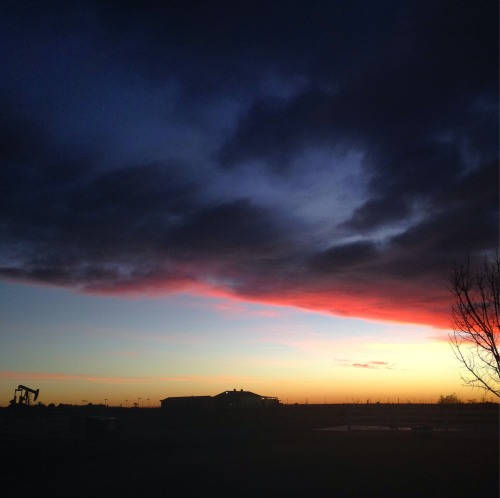 texas sunset sky december pump jack