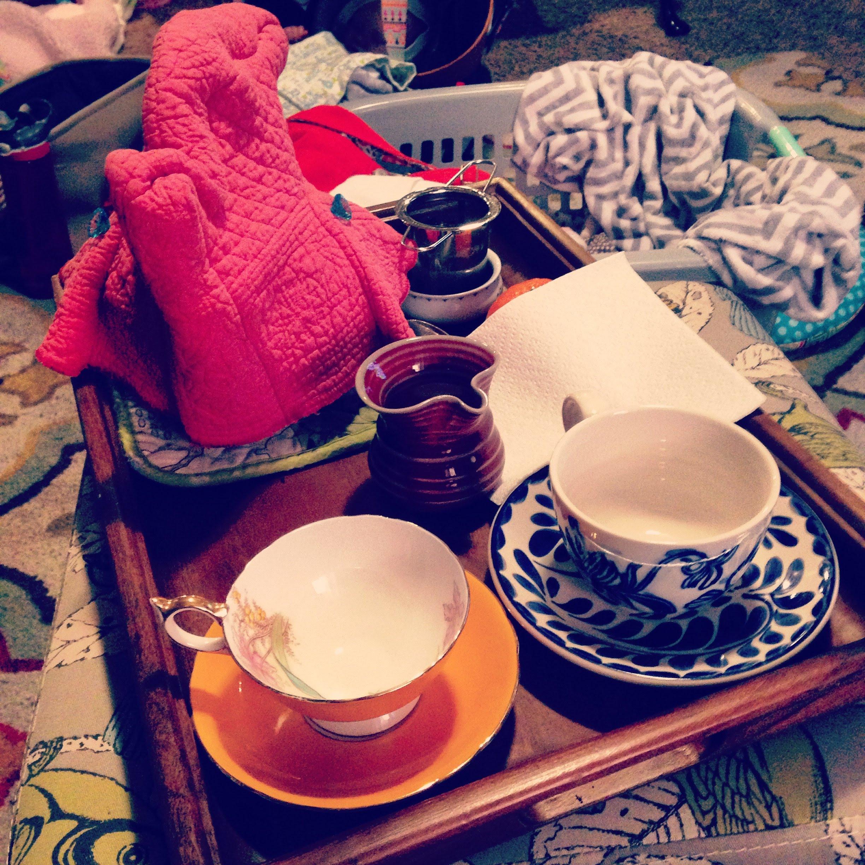 afternoon tea teacups tray