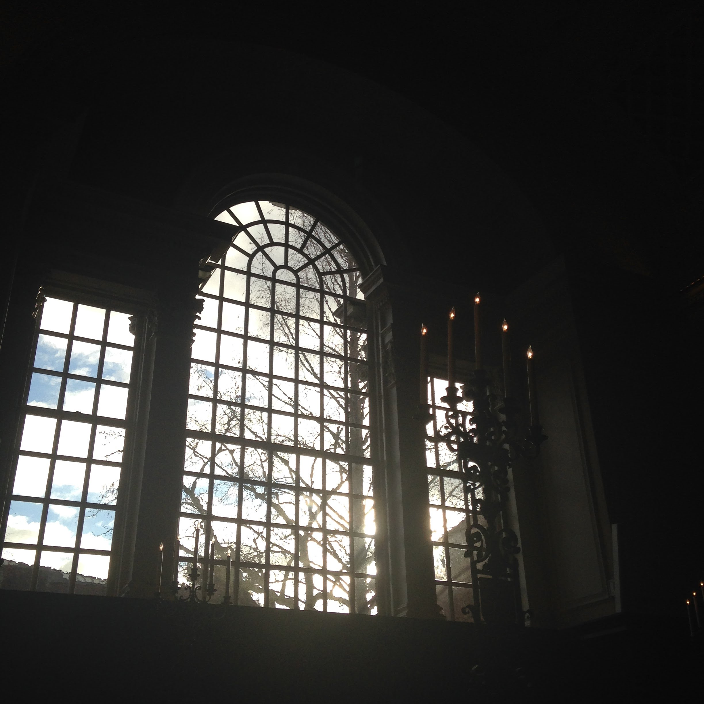 memorial church window light candles