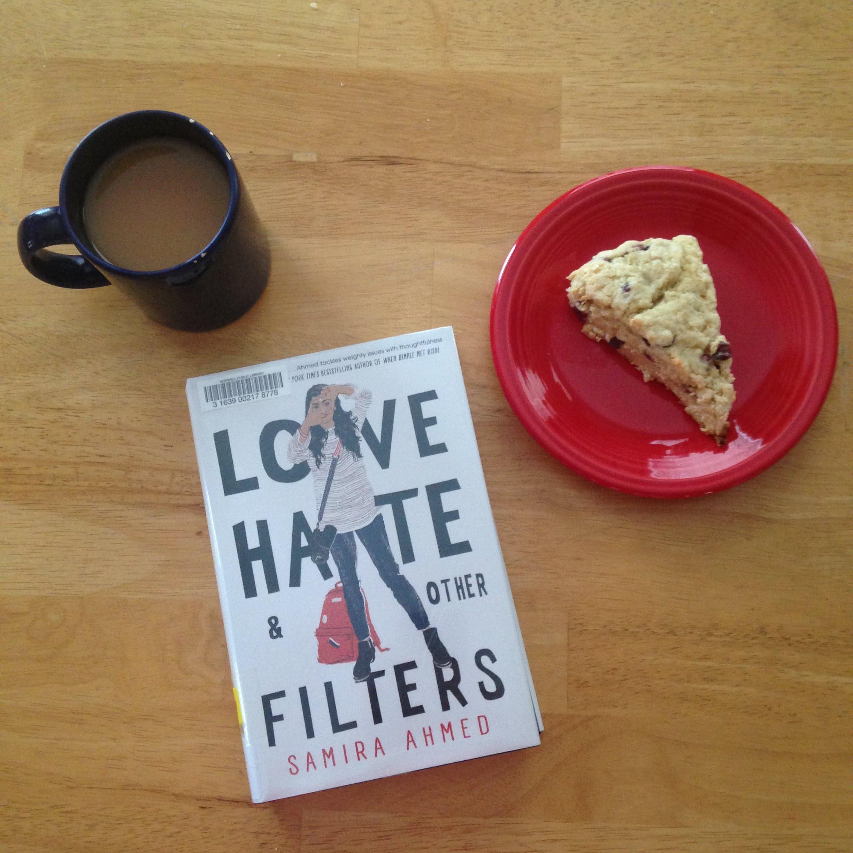 love hate other filters book mug scone tea