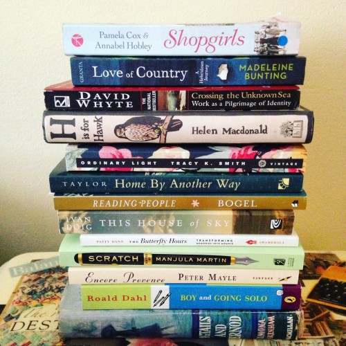 nonfiction tbr book stack