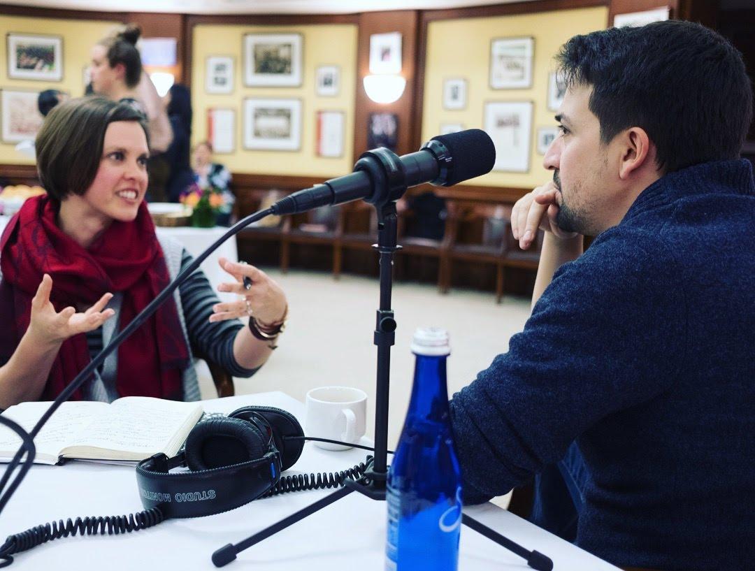 katie lin-manuel miranda interview microphone
