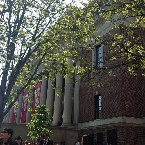 harvard widener library commencement banners