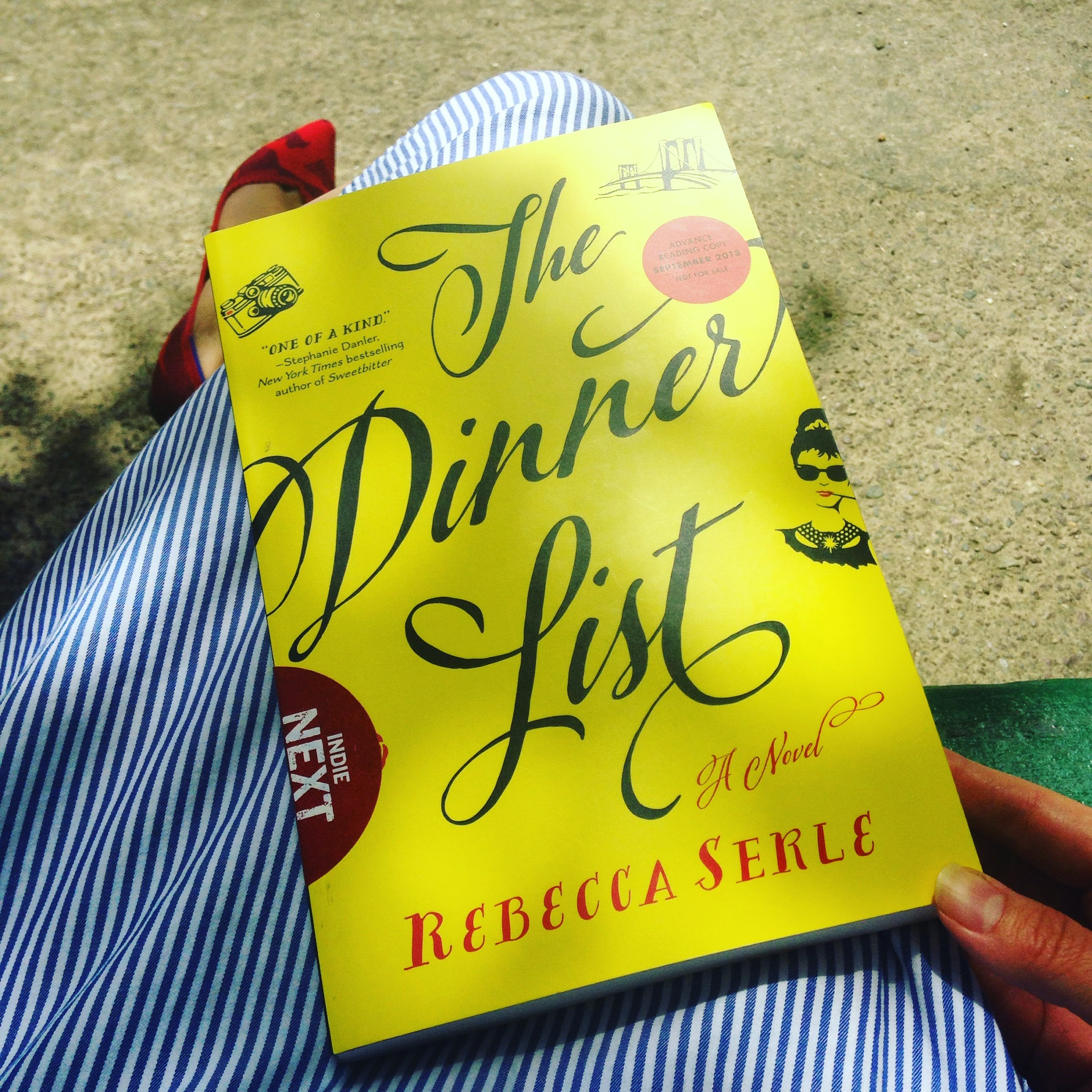 dinner list book stripes bench shoes