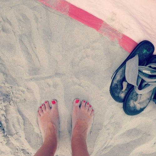 bare feet beach sand sandals