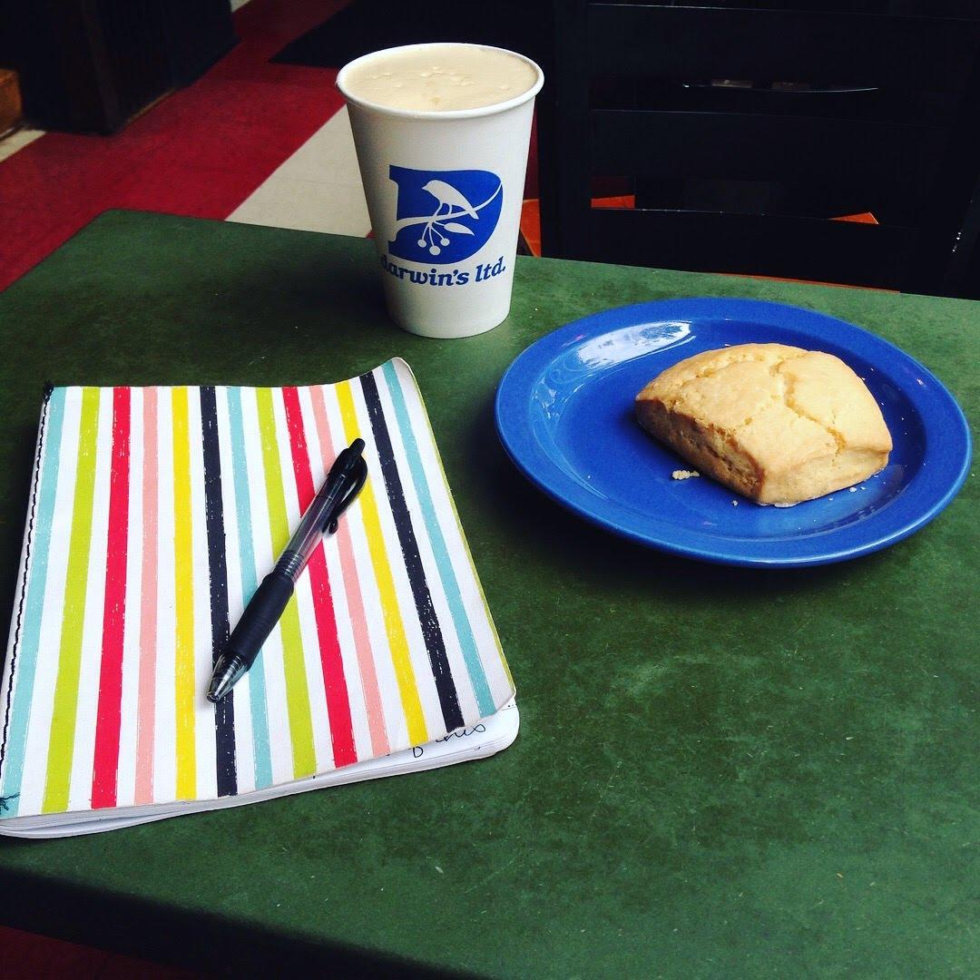 darwins scone stripe journal coffee shop table