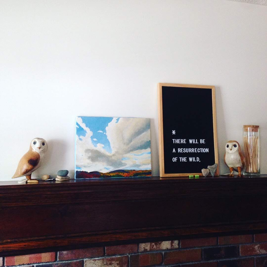 owls mantel painting