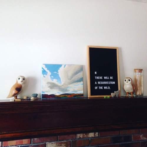 owls mantel painting