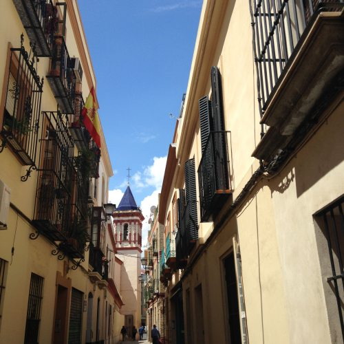 sevilla street tower buildings spain