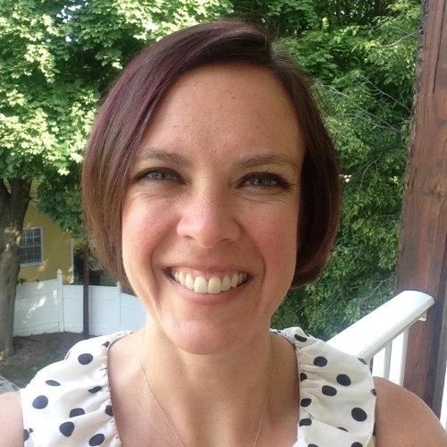 Katie polka dots porch selfie