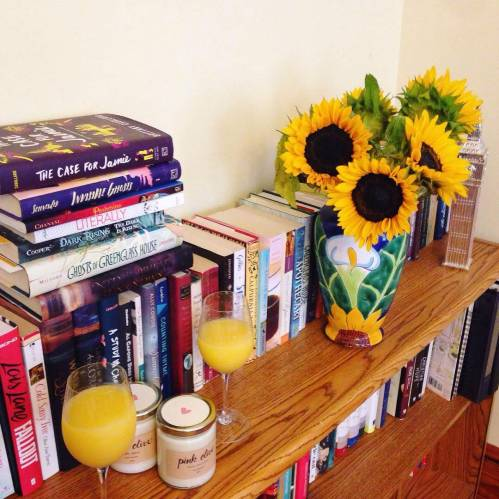 sunflowers books mimosas birthday