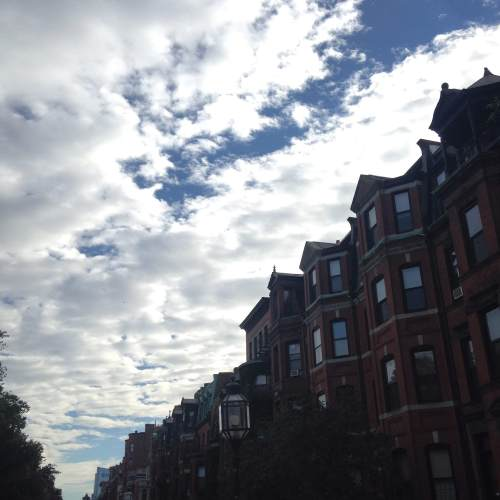 back bay Boston brownstones sky