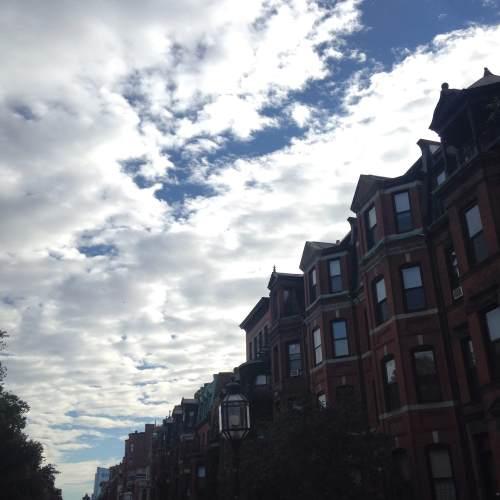 back bay Boston brownstones sky