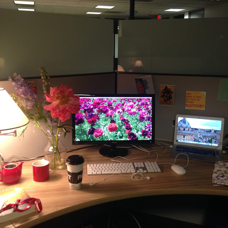 Berklee desk flowers computer lamp work