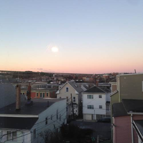 east Boston view sky sunset rooftops