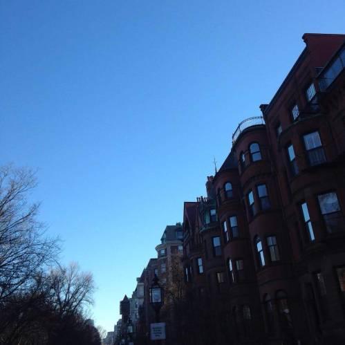 commonwealth avenue brownstones Boston blue sky