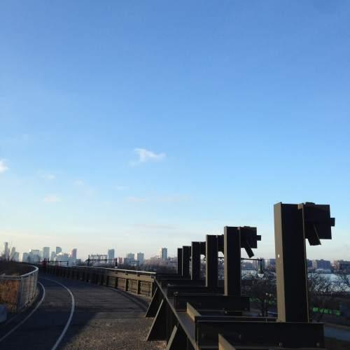 high line view NYC blue sky